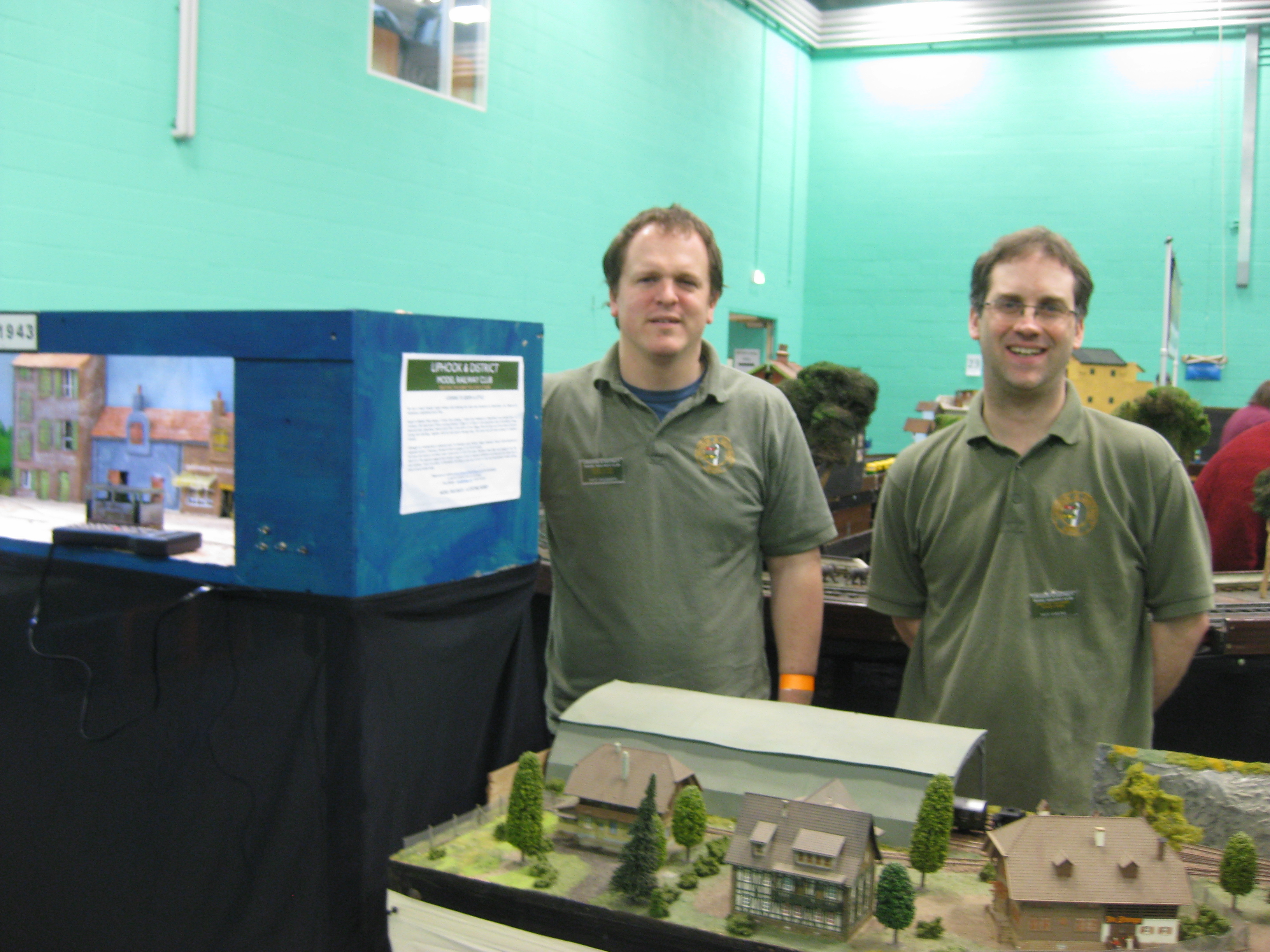 Members of Liphook & District MRC Matt Wildsmith(left) and Nick Harling standing with their respective layouts Nouvion 1943 & Uberernst at Midhurst Modellers Show 2016
