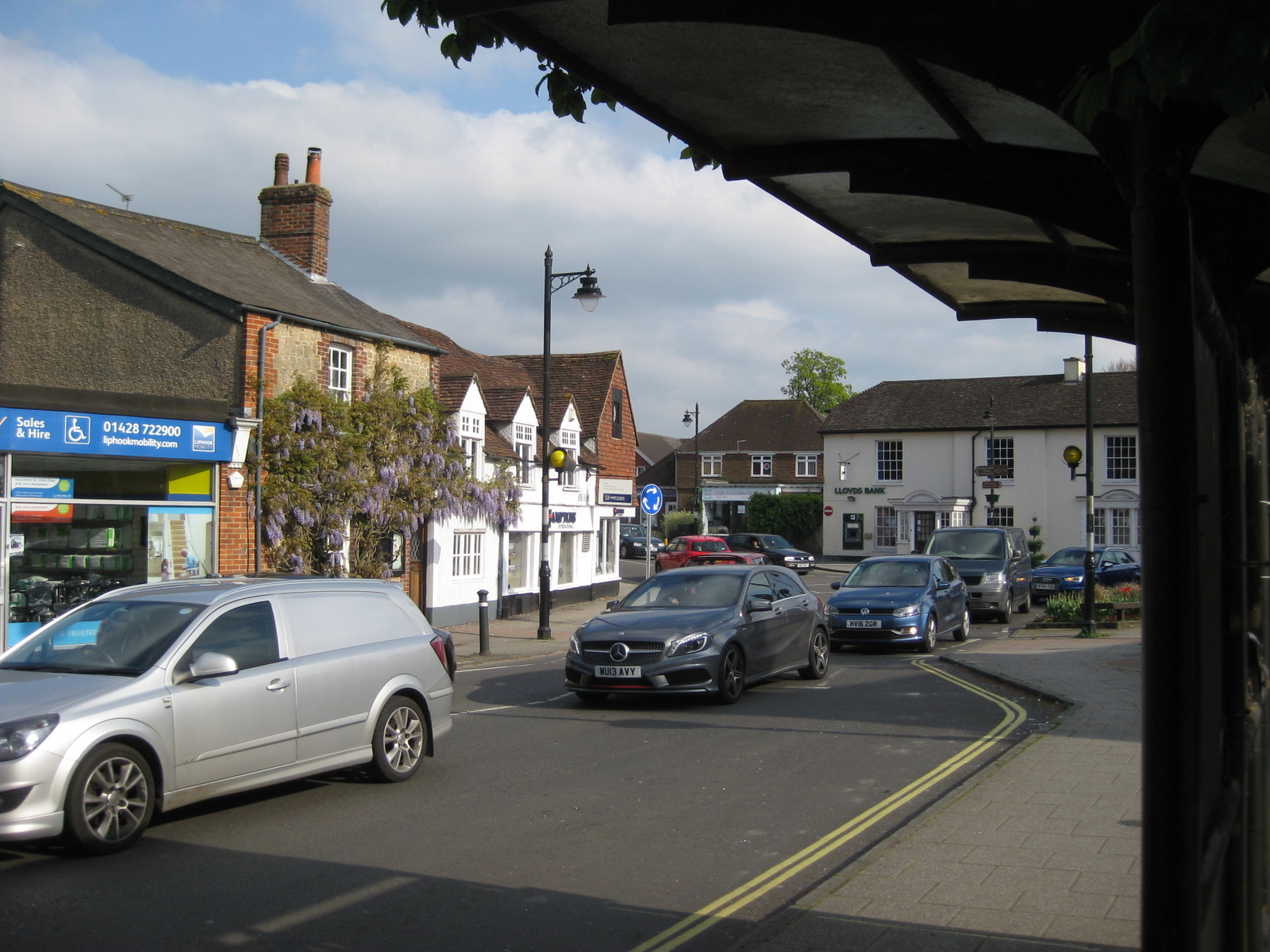 The centre of Liphook complete with rush hour traffic